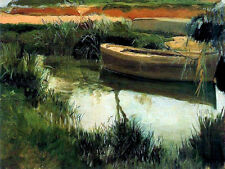 Art Oil painting Boat on the Albufera by pond landscape Hand painted canvas