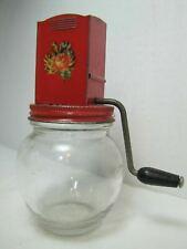 Old HAZEL ATLAS SPICE GRINDER Jar Floral Wooden Handle Knob Grinder
