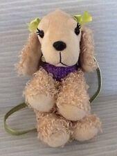 Poochie Beige Puppy W/Sequin Torso & Green Strap Plush Stuffed Animal