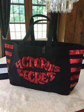 DESIGNER VICTORIA'S SECRET EXTRA LARGE BLACK RED LIPS SEQUIN BEACH GYM TOTE BAG