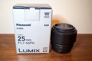 Panasonic Lumix G 25mm f1.7 ASPH H-H025 with Original Box and Caps