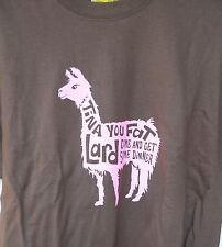 "NEW  NAPOLEON DYNAMITE ""TINA YOU FAT LARD"" BROWN AND PINK TEE SIZE ADULT MEDIUM"