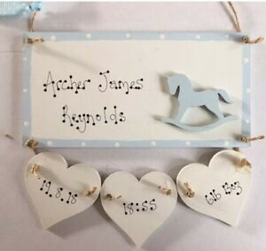 Personalised New Baby Boy Son Grandson Wooden Plaque Sign gift Rocking Horse