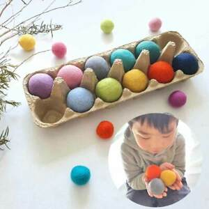 4cm Large Felt Balls Jumbo Montessori Sensory Play Counting Toy Wool Educational