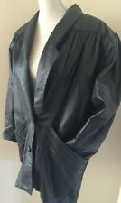 Vtg PIERRE BALMAIN Black Leather Jacket Women's Size 2 Big Shoulders