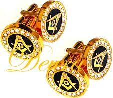 2 Pairs Masonic Crystal Cufflinks Cuff Links Square & Compass RHINESTONES