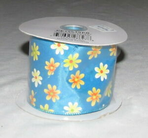 """Darice Inc. Polyester craft Ribbon Blue with Yellow Flowers 2.5"""" NEW"""