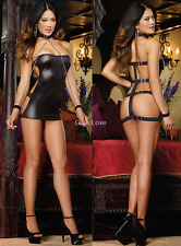 Gain Love SEXY Handcuffs BLK Lingerie Chain PVC Leather Latex Costume Sex Party