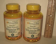 (2) High Potency Vitamin D-3,  from Puritan's Pride >>400 softgels, 5000 IU each