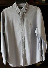 Mens Ralph Lauren Oxford Button Down Shirt, Blue/Lavender  - Size 16 1/2 - 35
