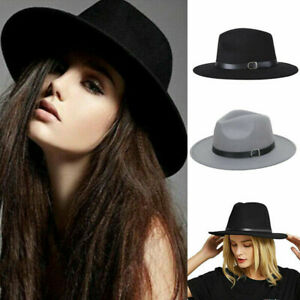 Ladies Gentlemen Wool Felt Trilby Fedora Jazz Wide Brim Hat Large Cap Gangster