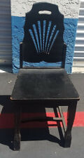 Collectible black painted solid wood chair,very sturdy with carved back