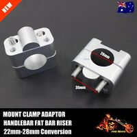 Motorcycle HandleBar Fat Bar Risers Mount Clamp Adaptor 22MM To 28MM Dirt Bike