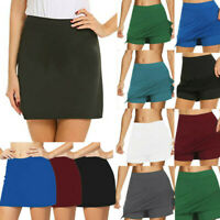 Womens Ladies Summer Active Skorts Skirt Solid Shorts Running Golf Activewear