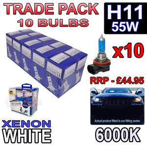 10 x H11 55w Xenon White Halogen Bulbs 6000k - Trade Bulk Wholesale 10 Pack Fog
