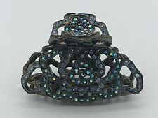 Stunning Vintage Hair Claw Clip with Blue Crystals