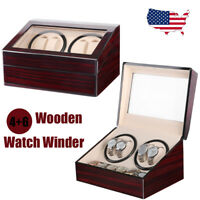 Automatic Rotation 4+6 Slot Wood Watch Winder Storage Box Display Case Organizer