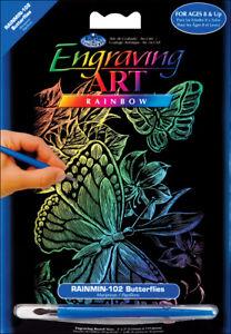 """Royal Brush Rainbow Foil Engraving Art Mini Kit 5""""X7""""-Butterflies, RAIMIN-102"""