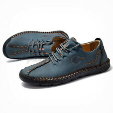 SGAM Men Hand Stitching Leather Shoe Summer Oxfords Lace Up Flat Busines