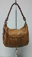 FOSSIL TAN BROWN PEBBLED LEATHER TOTE SHOULDER BAG PURSE BRAIDED STRAP ZB2646
