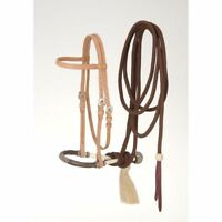 Western Brown  Leather Brow band Style Headstall with Bosal Mecate Reins
