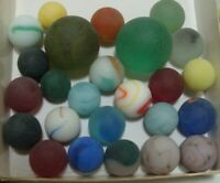 25 Vintage Beach Sea Marbles Glass Cats Eye Swirls With Shooters Beautiful Lot