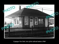OLD LARGE HISTORIC PHOTO OF COPIAGUE NEW YORK THE RAILROAD DEPOT STATION c1960