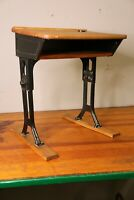 Vintage Antique industrial Metal Child's student School Desk with wood top