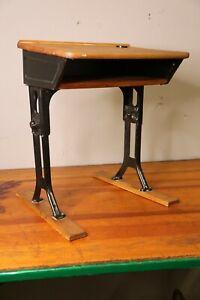 Antique School Desk industrial Metal Childs Table wood top Vintage Desk