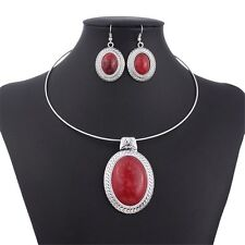 Red Chunky Oval Turquoise Tibet Silver Pendant Necklace Earrings Choker Set