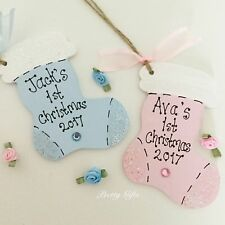 Personalised Babies First Christmas Stocking Tree Decoration Keepsake Gift
