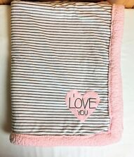 Carters I Love You Pink Heart Striped Baby Blanket