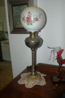Antique Oil Lamp conversion with hand painted globe!