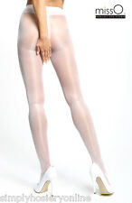 Miss O Open Crotch Pantyhose Crotchless Sheer Tights 20 Denier Large / XL White