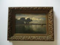 ANTIQUE 19TH CENTURY OIL PAINTING NAUTICAL IMPRESSIONIST TONALIST BEACH SUNSET