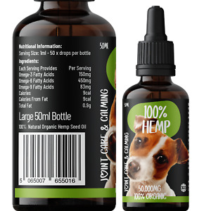 Organic Hemp Oil For Dogs⭐️ Hip & Joint Support⭐️ Dog Calming ⭐️Easy Drops