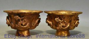 """4"""" Rare Old Chinese 24K Gold Gems Dynasty Palace Dragon Beast Wine Glass Pair"""