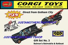 Corgi toys batman batmobile batboat gs 3 ensemble cadeau poster pub dépliant signe