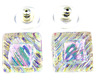 """DICHROIC EARRINGS Post 1/2"""" 12mm Clear Opal Yellow Pink Green Ripple Fused GLASS"""