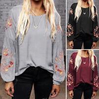 ZANZEA Women's Flower Embroidery Shirt Tops Loose Ethnic Blouse Oversize Jumper