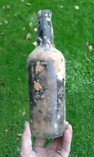 More details for early black glass free blown large size wine bottle c1800 from shipwreck.
