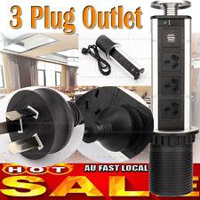 3/4 Pop up Pull Power Point Socket Home Unit Desk Worktop W/ 2 USB Charging Hot 3 Socket 2pcs