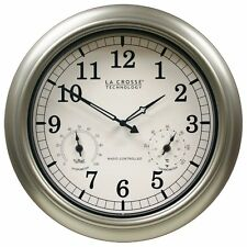 Large Atomic Wall Clock Accurate Thermometer Humidity Indoor Outdoor Pool Patio
