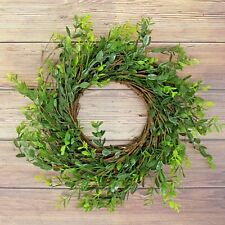 Artificial Rustic Boxwood and Twig Wreath, Fireplace Porch Balcony Decor 14-Inch