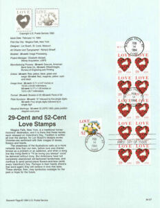 LOVE STAMP DOVE IN ROSES HEART BOOKLET PANE 1994 #2814A  USPS FD Souvenir Page