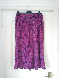 Bon Marche Hi Low Bias Cut Pink Paisley Print Skirt sz16