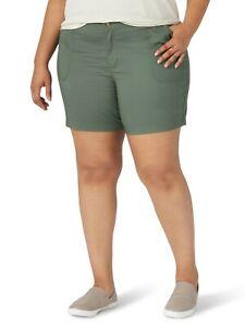 Lee Women's Plus Size Regular Fit Utility Short, Color: Moss Green