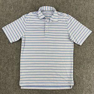 JOHNNIE-O Poly Spandex Short Sleeve Shirt Striped Golf Polo Men's Size Small EUC
