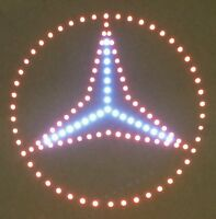 Mercedes Benz Schild / LED Emblem / 24 Volt rot / weiß