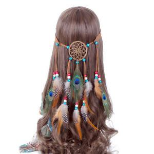 Boho Indian Feather Headband Dream Catcher Hair band Beads Carnival Hippy Native